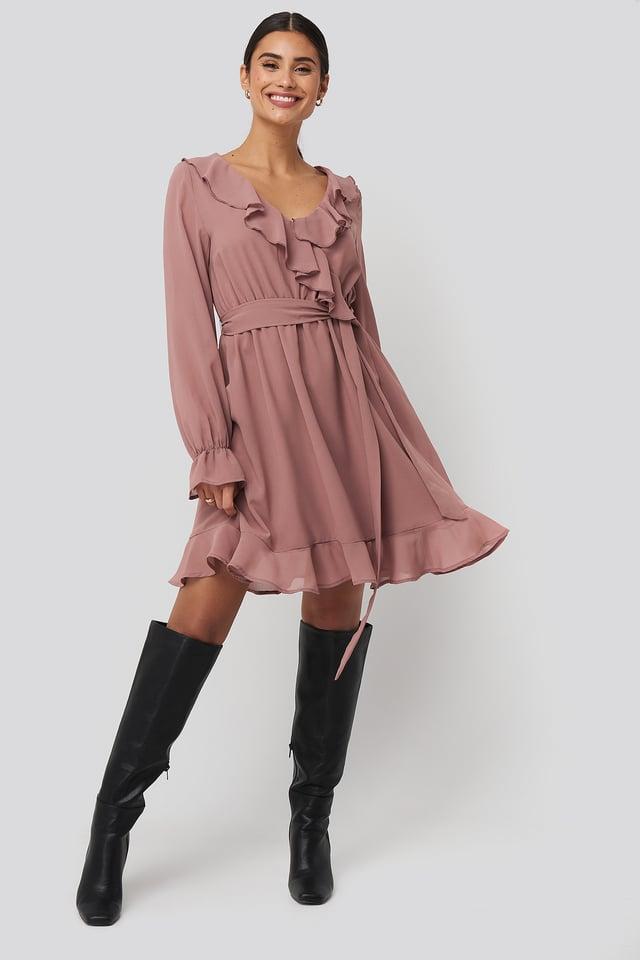 Flounce Chiffon Mini Dress Dusty Dark Pink
