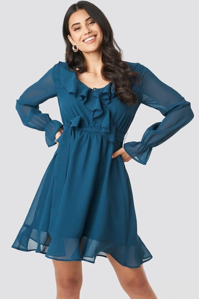 Flounce Chiffon Mini Dress Blue