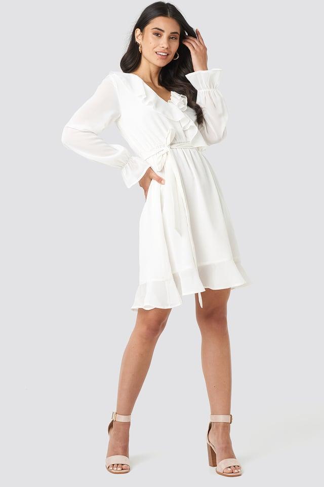 Flounce Chiffon Mini Dress Cream