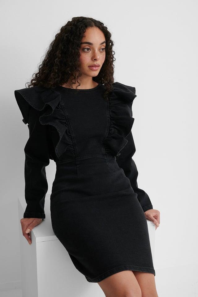 Organisch Jeanskleid Aus Volant Washed Black