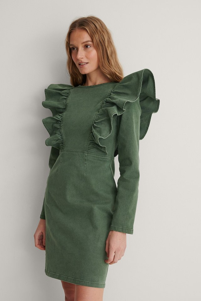 Washed Green Organic Flounce Denim Dress