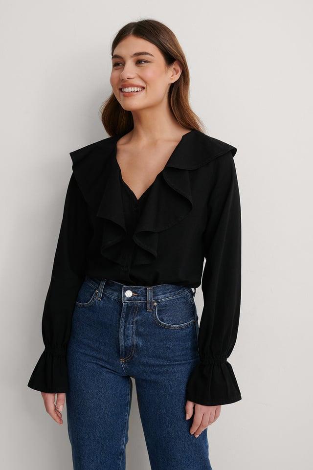 Black Flounce Denim Shirt