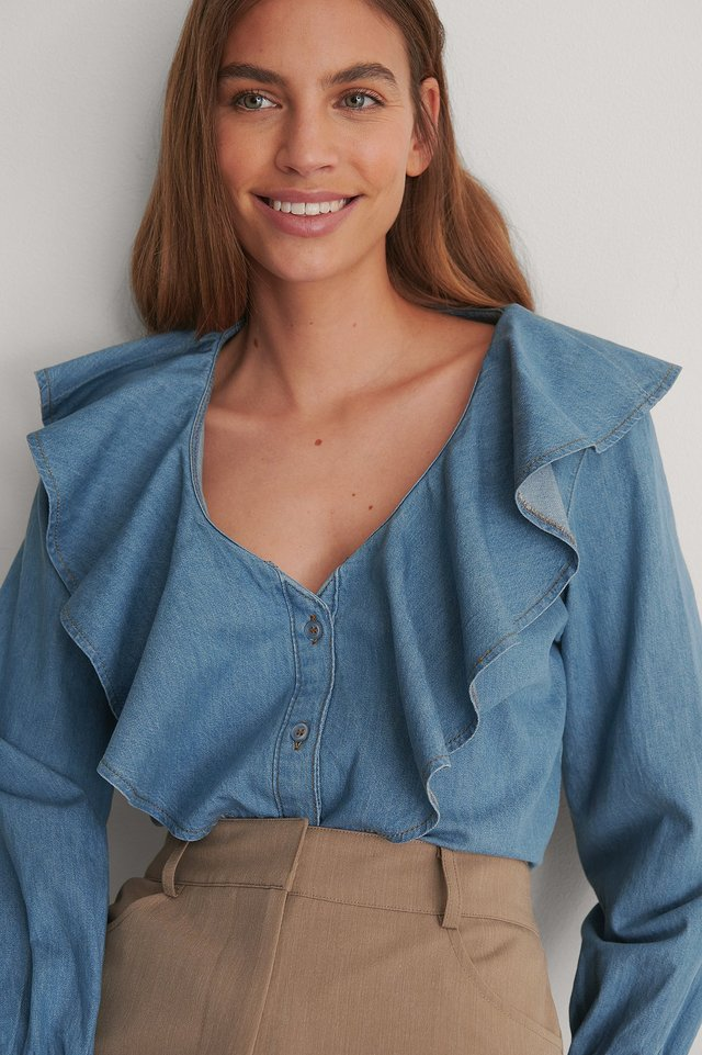 Mid Blue Flounce Denim Shirt