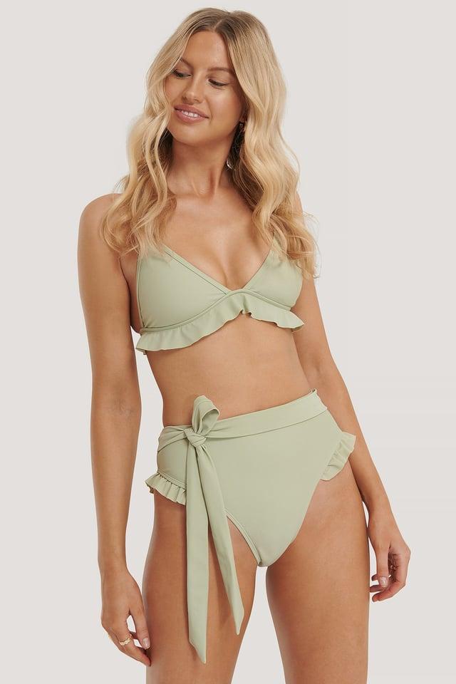 Light Khaki Flounce Detail Highwaist Bikini Panty
