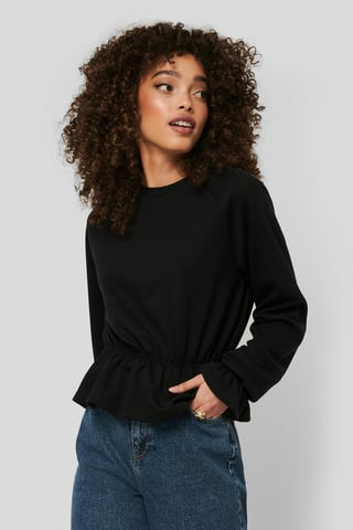 Black Flounce Detail Jersey Top