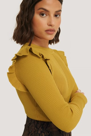 Mustard Flounce Detail Knitted Sweater