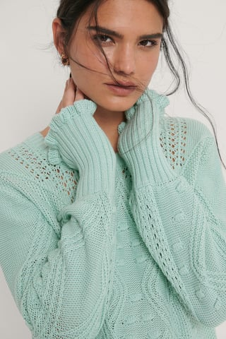 Mint Flounce Detail Knitted Sweater