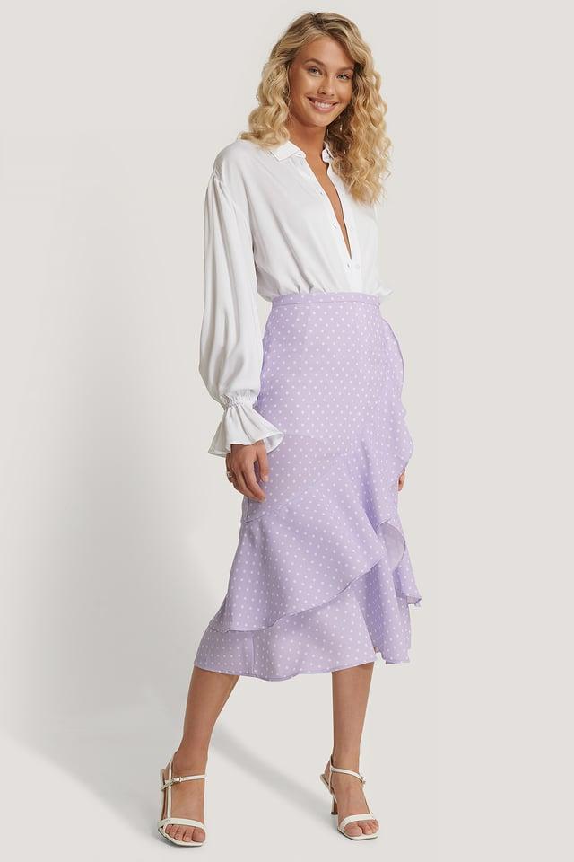 Pastel Lilac Knælang Nederdel