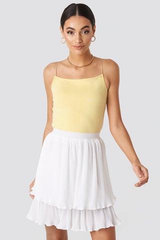 White Flounce Mini Pleated Skirt