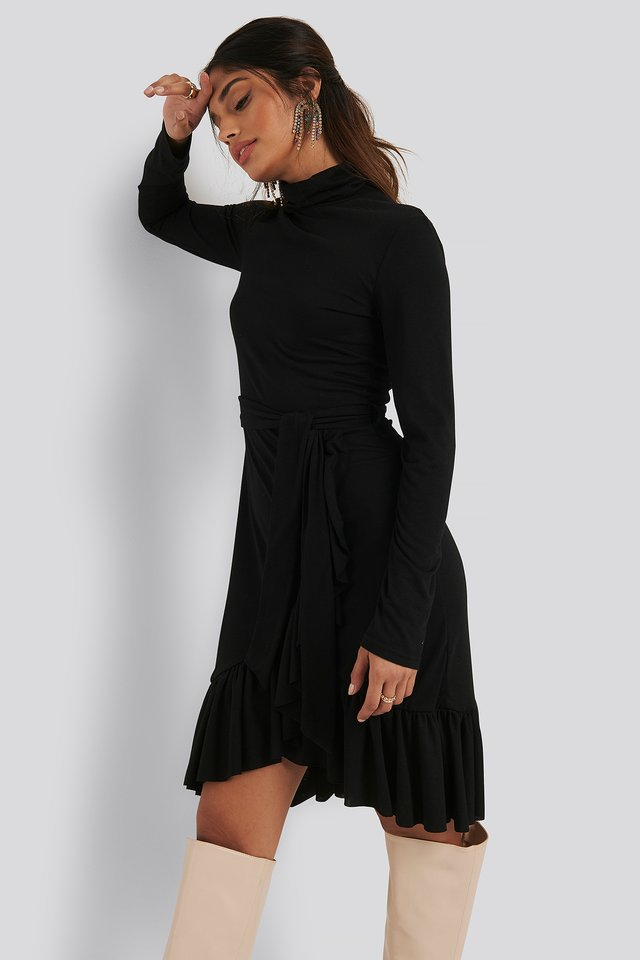 Flounce Polo Dress Black
