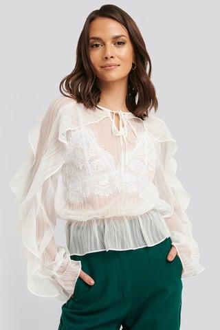 White Flounce Sleeve Shirred Blouse