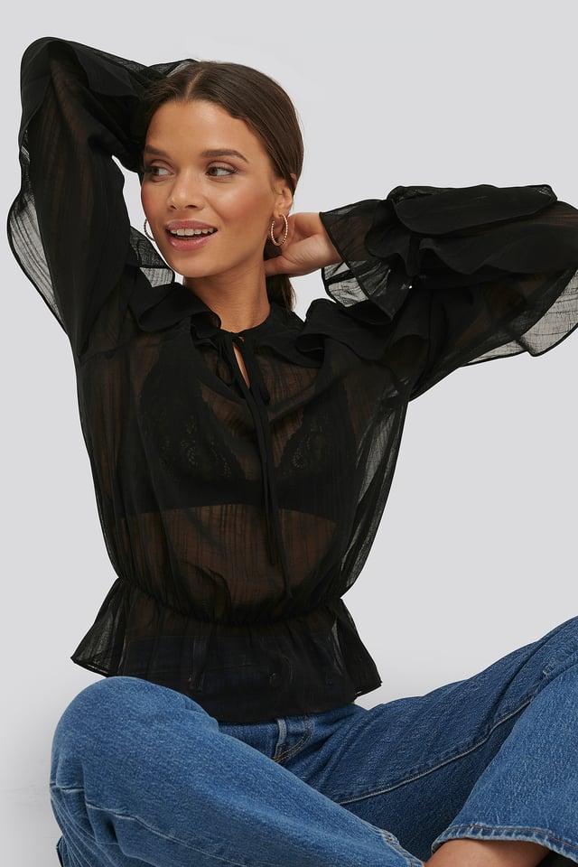 Flounce Sleeve Shirred Blouse Black