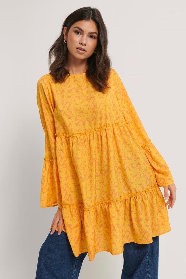 Yellow Flower Minikjole Med Vide Ermer