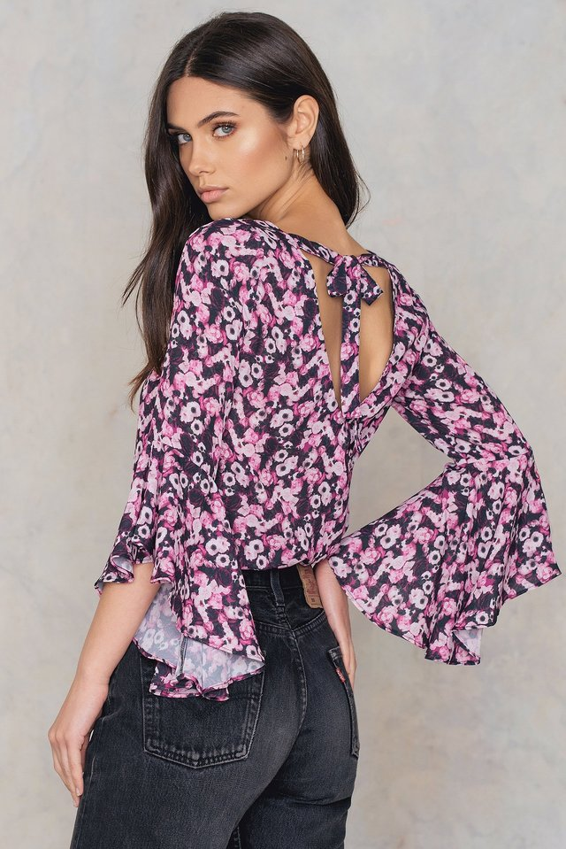 Flounced Sleeve V-Neck Blouse Flower Print