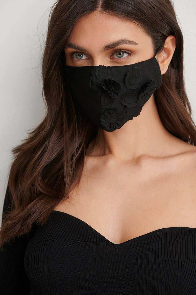 Black Flower Applique Face Mask