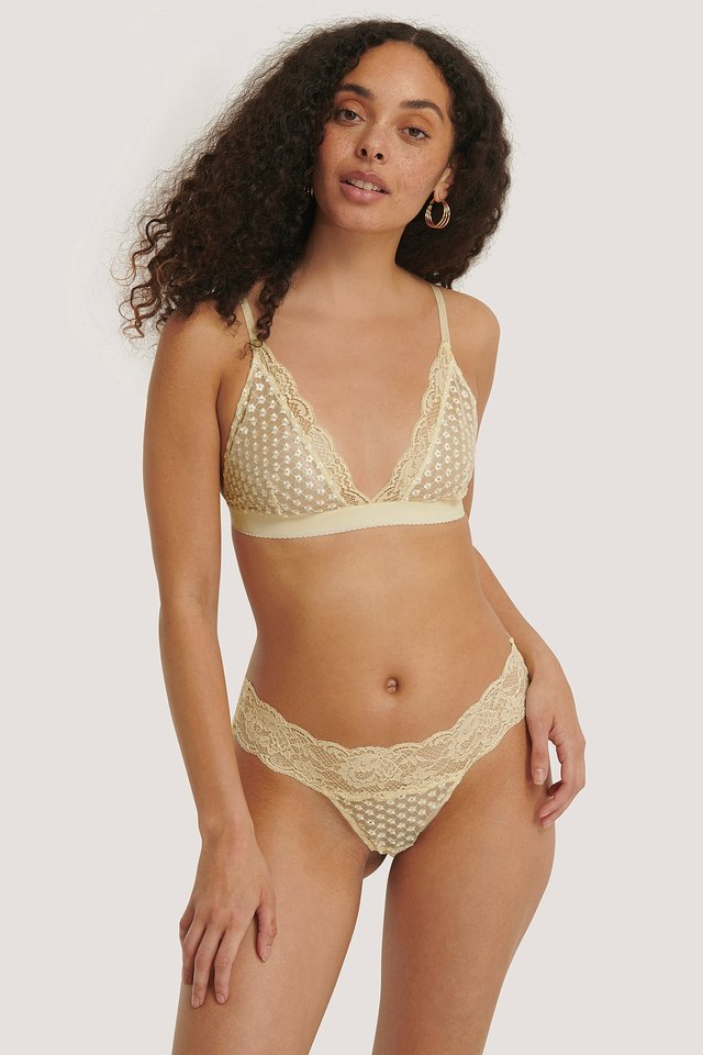 Flower Embroided Lace Thong Light Yellow