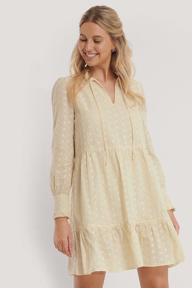 A-Förmiges Kleid Mit Blumenstickerei Light Yellow