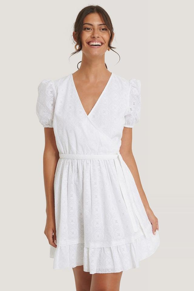 Flower Embroidery Overlap Dress White