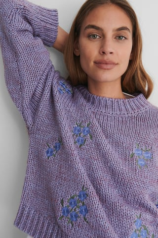 Purple Flower Embroidery Round Neck Knitted Sweater