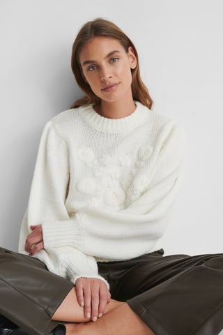 White Flower Knitted Sweater