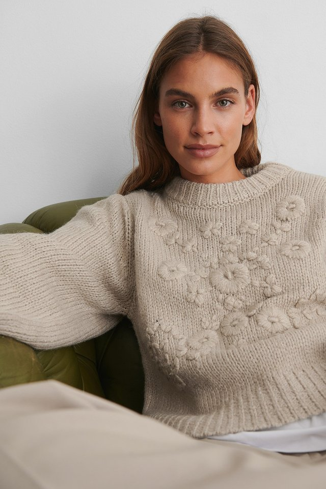 Light Beige Flower Knitted Sweater