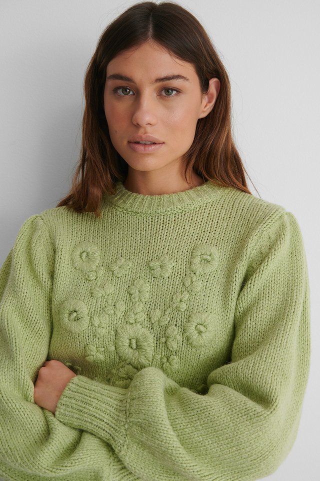 Light Green Flower Knitted Sweater