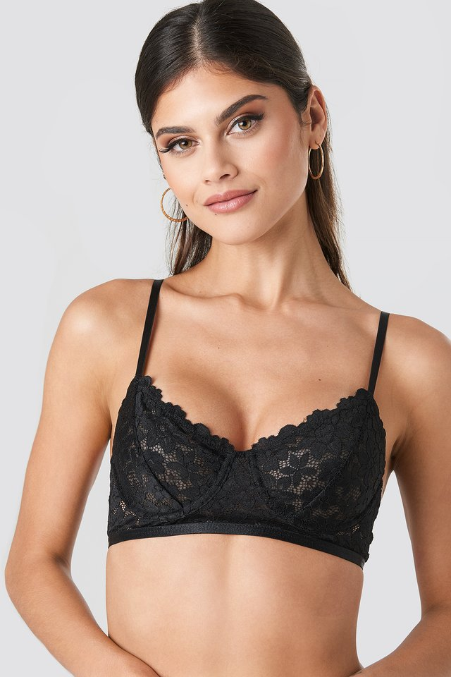 Flower Lace Elastic Cup Bra Black