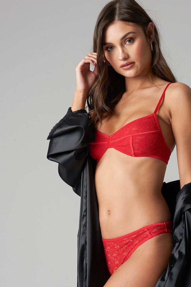 Flower Lace Panty Red