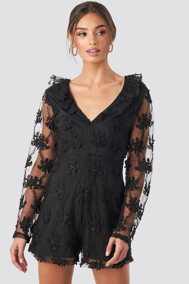 Flower Lace Playsuit Black