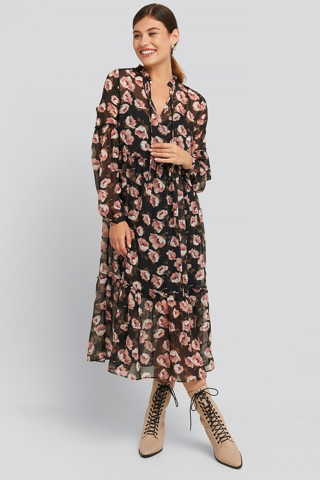 Flower Print Balloon Sleeve Dress Black/Flower Print