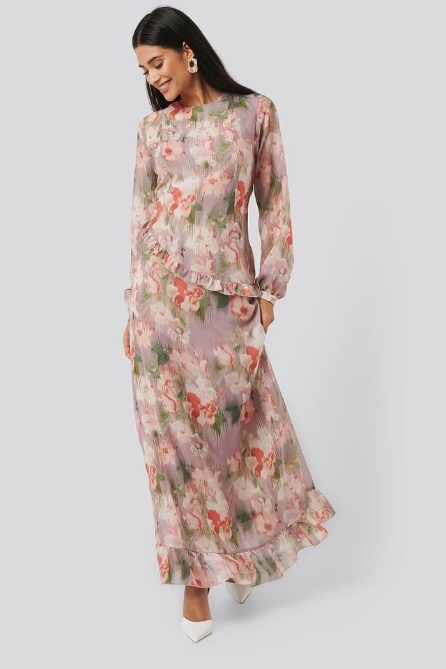 Pink Flower Flower Printed Midi Dress
