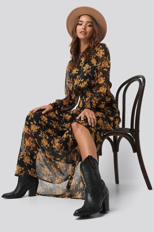 Flower Printed Shirred Maxi Dress Black/Flower Print