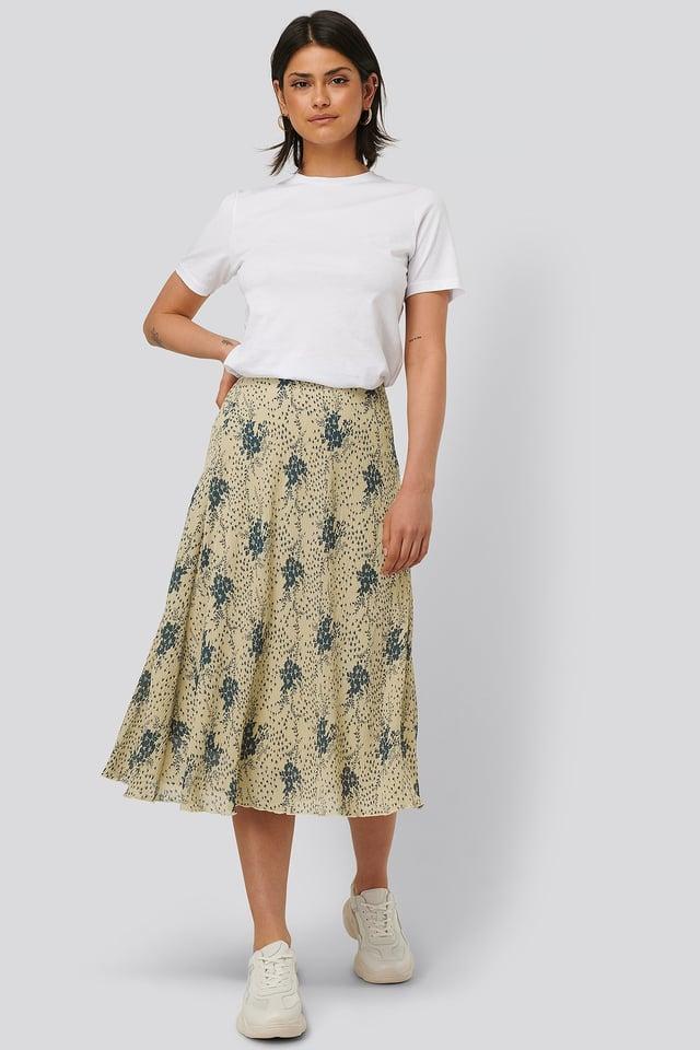 Flower Printed Skirt White/Blue