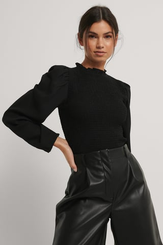 Black Long Sleeve Smock Blouse
