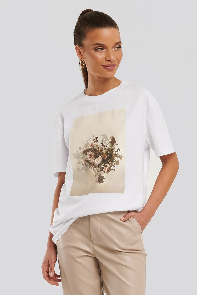White Flower Printed Unisex Tee