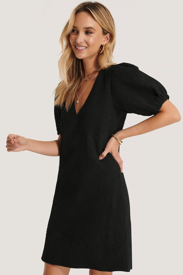 Flower Structured Mini Dress Black