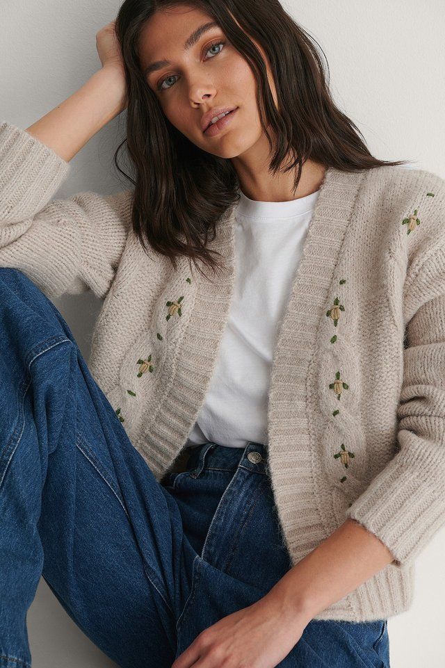 Grey Flower Embroidery Knitted Cardigan