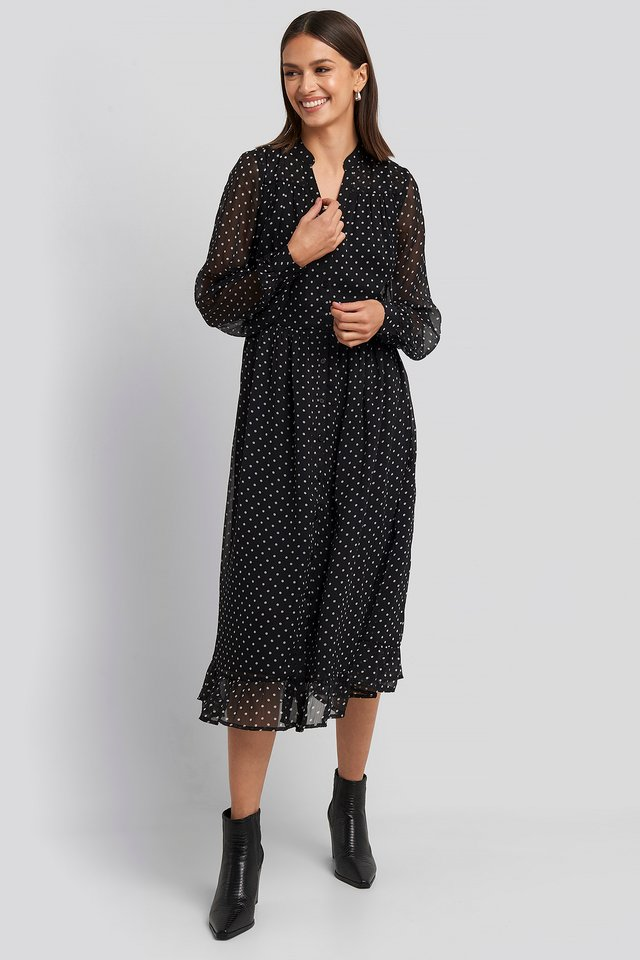 Flowy Midi Flounce Dress Black/White Spots