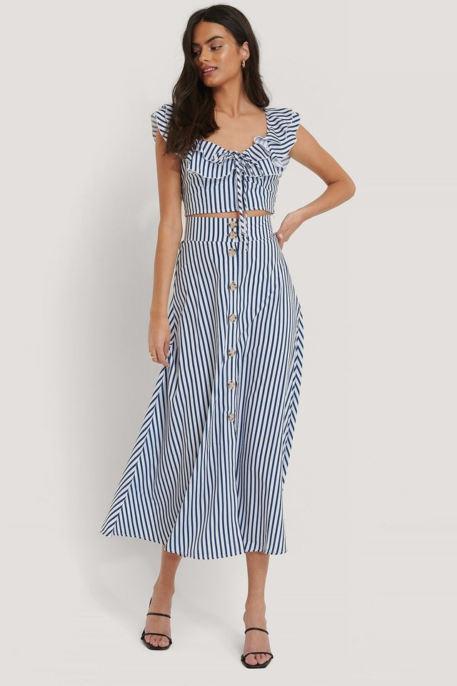 Flowy Button Skirt Blue Stripe