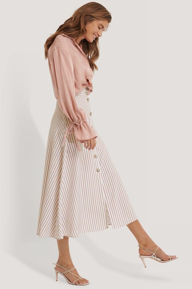Flowy Button Skirt White/Beige Stripe