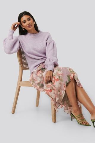 Pink Flower Flowy Chiffon Skirt