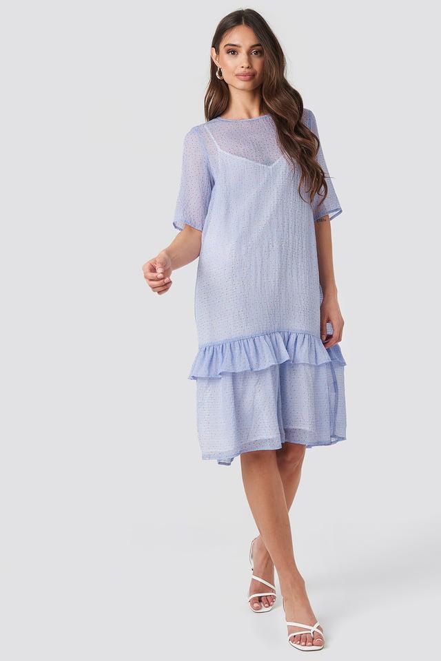 Flowy Dotted Dress Purple
