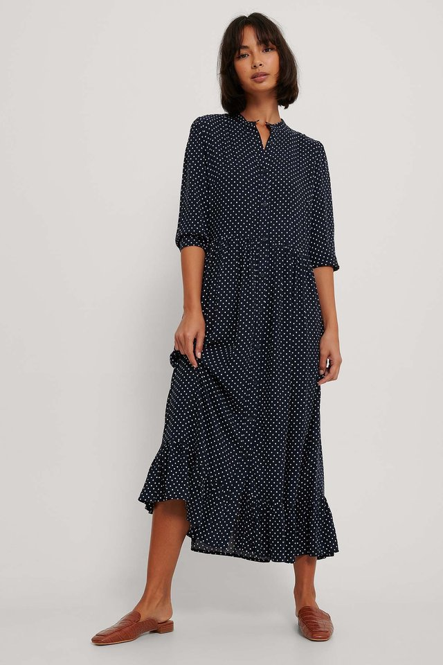 White Dots Flowy Flounce Hem Maxi Dress