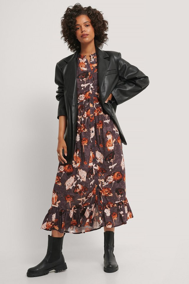 Dark Flower Bed Flowy Flounce Hem Maxi Dress