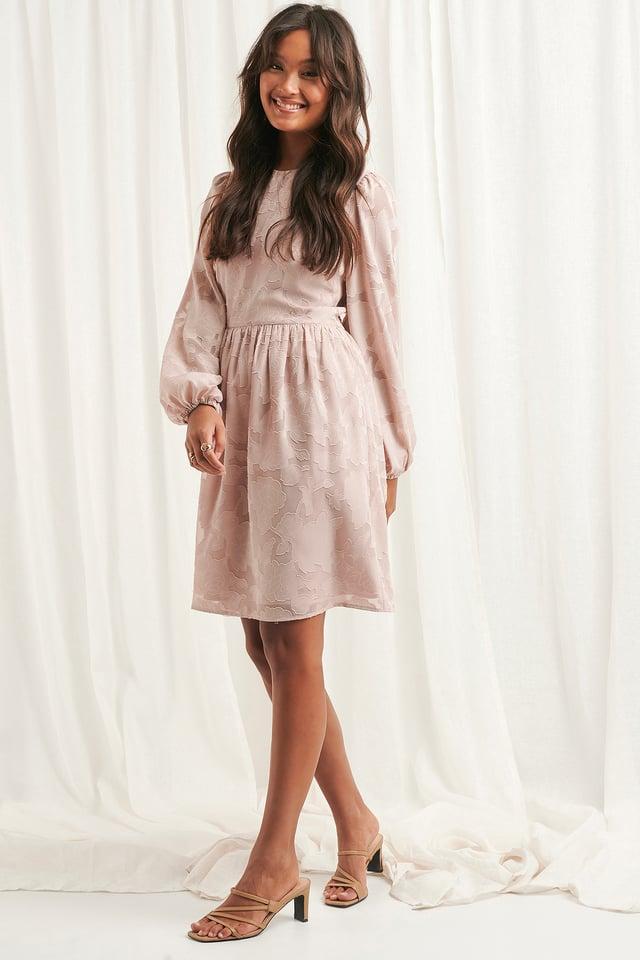 Flowy Flower Applique Dress Dusty Pink