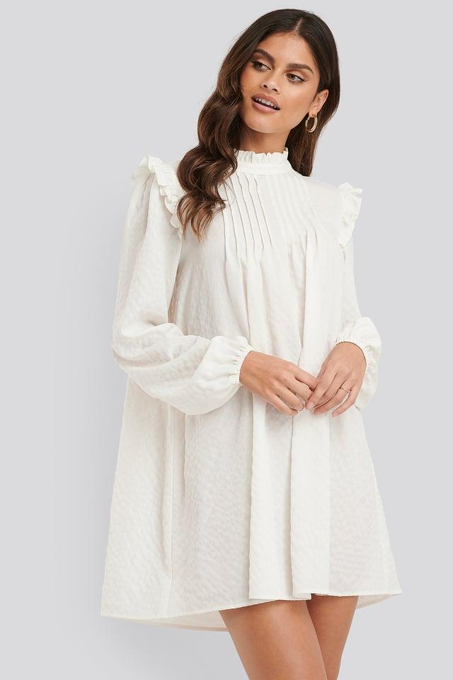 Flowy Frill Detail Dress White