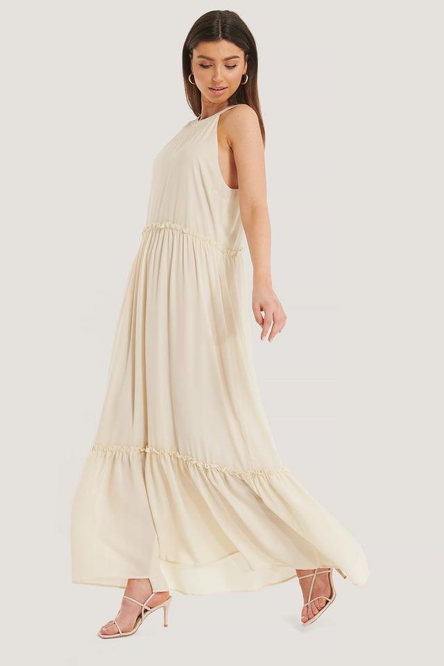 Flowy Frill Maxi Dress Cream