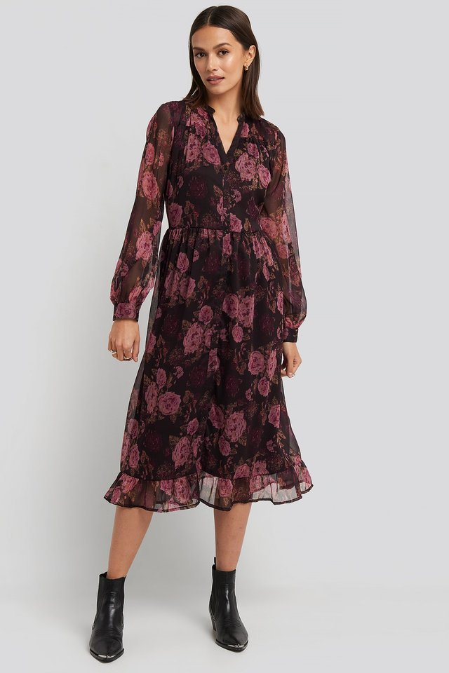 Brown/Pink Flowers Flowy Midi Flounce Dress