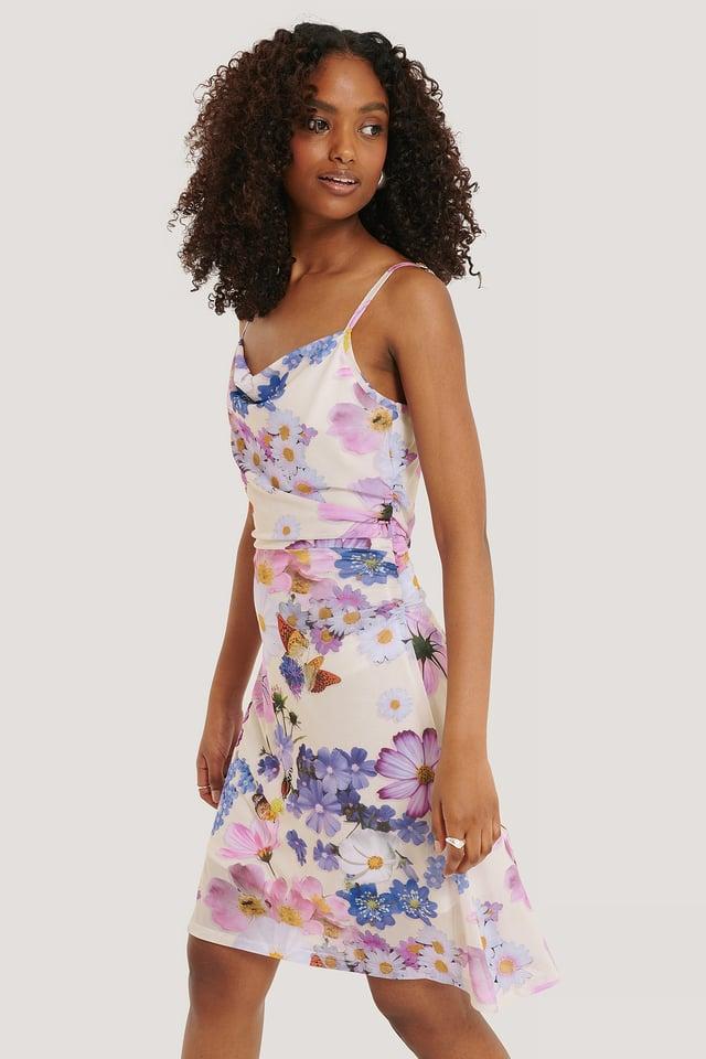 Flower Print Vid Miniklänning