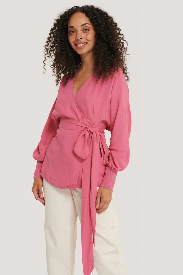 Flowy Overlap Blouse Pink